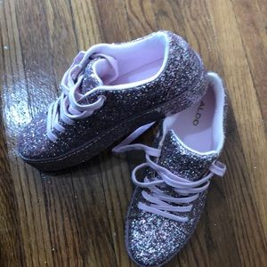 Aldo pink sparkle sneakers